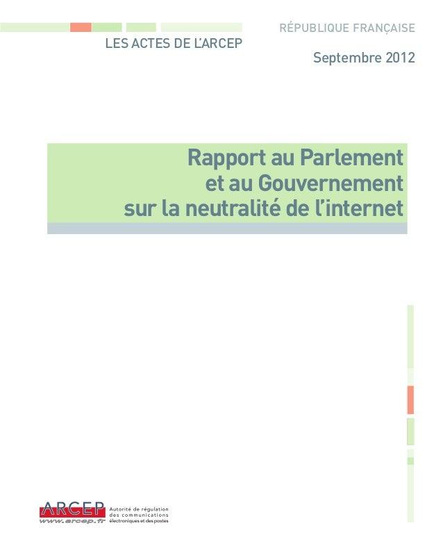 Neutralité du net - ARCEP - Septembre 2012