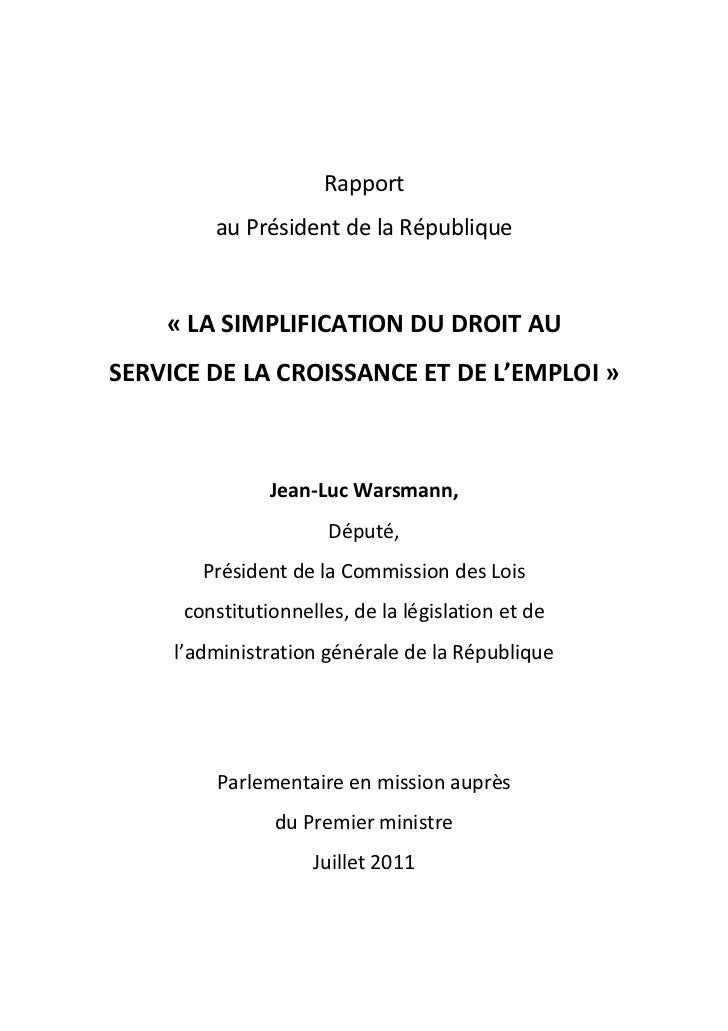 Rapport warsmann (http://www.pme.gouv.fr/simplification/index.php)