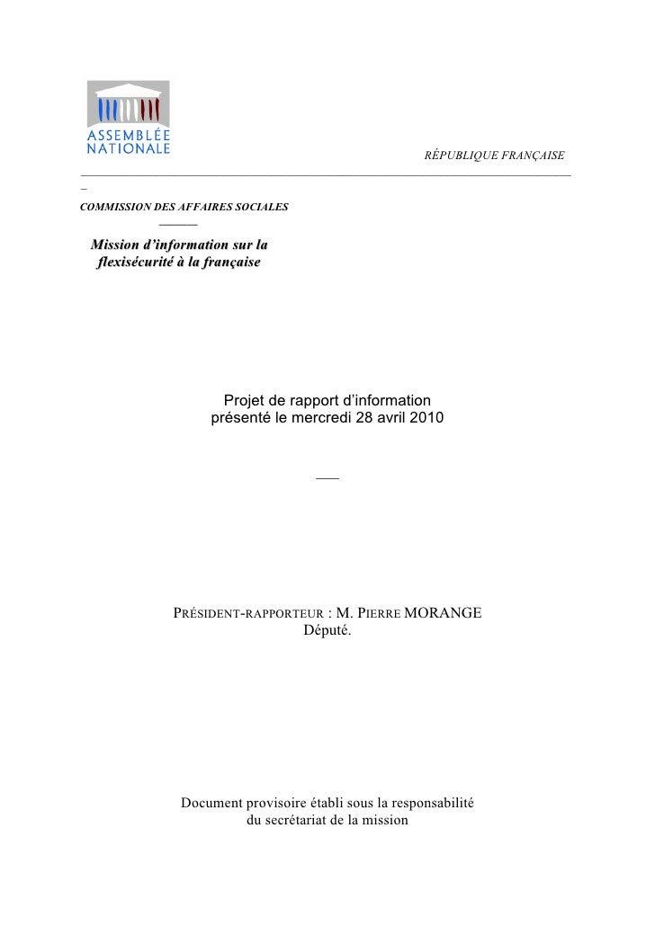 Projet de rapport d'information présenté le mercredi 28 avril 2010