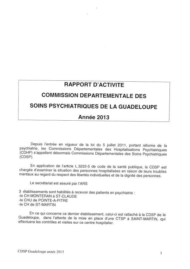 Rapport 2013 cdsp de la guadeloupe