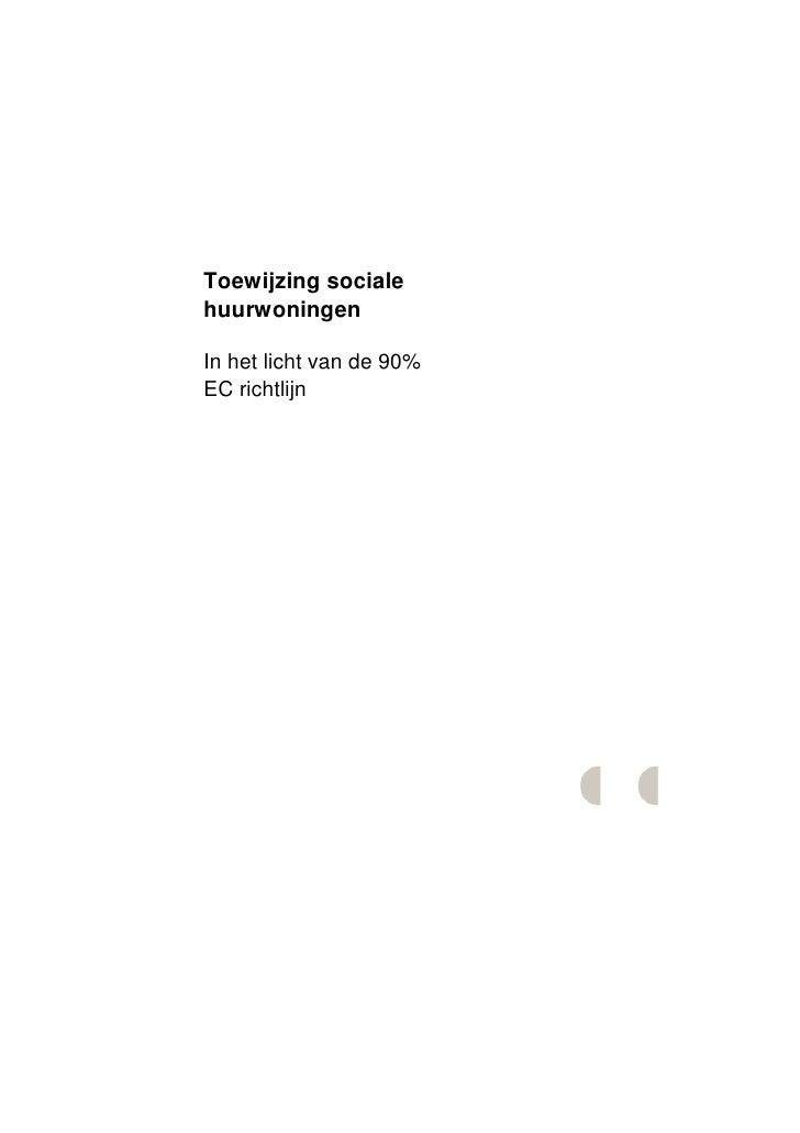 Rapport abf 90% toewijzing