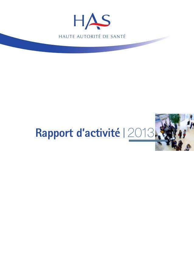 Rapport d'activité I 2013