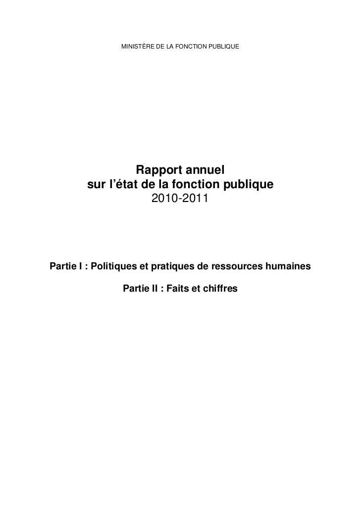 MINISTÈRE DE LA FONCTION PUBLIQUE                  Rapport annuel        sur l'état de la fonction publique               ...