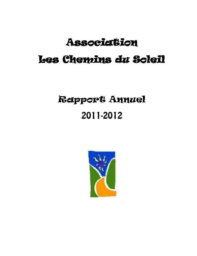 Association Les Chemins du Soleil  Rapport Annuel