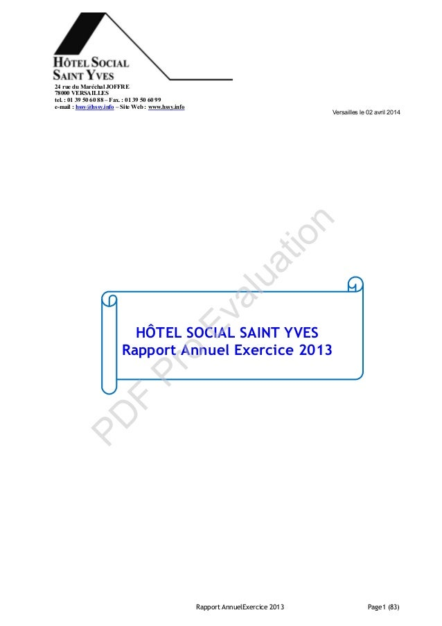 Rapport annuel exercice 2013