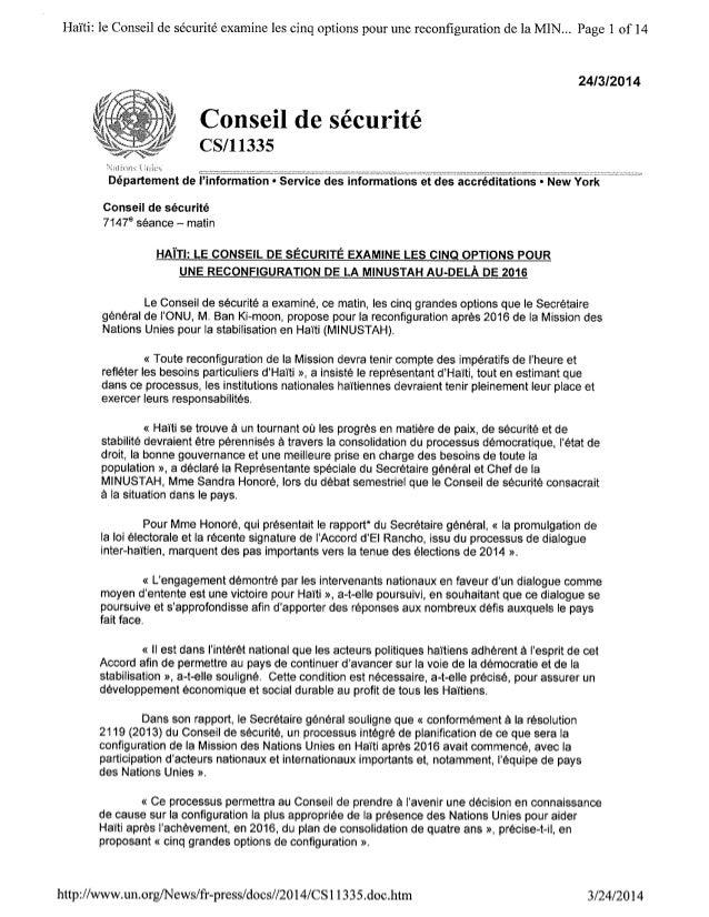 LE CONSEIL DE SECURITE EXAMINE CINQ OPTIONS POUR UNE RECONFIGURATION DE LA MINUSTAH