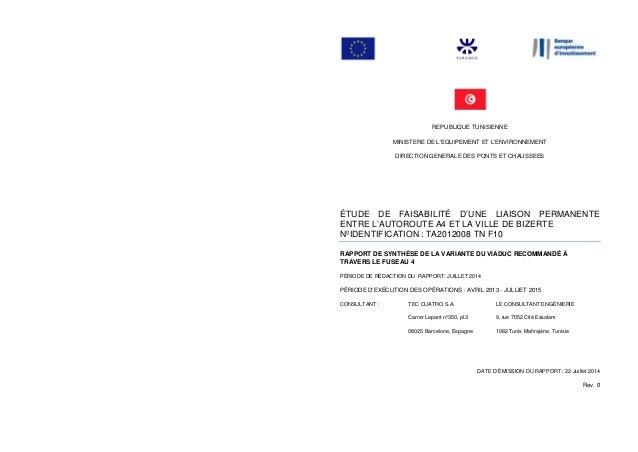 REPUBLIQUE TUNISIENNE MINISTERE DE L'EQUIPEMENT ET L'ENVIRONNEMENT DIRECTION GENERALE DES PONTS ET CHAUSSEES ÉTUDE DE FAIS...