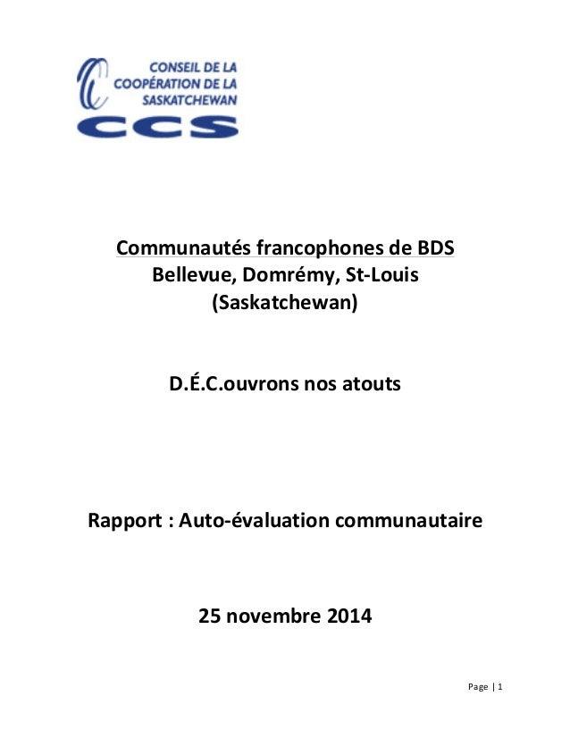 Page     1                             Communautés  francophones  de  BDS   Bellevue,  ...