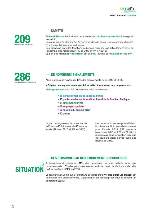 13 209MAINTIENS RÉUSSIS 286SIGNALEMENTS EN 2014 209 maintiens ont été réussis cette année soit le niveau le plus élevé enr...