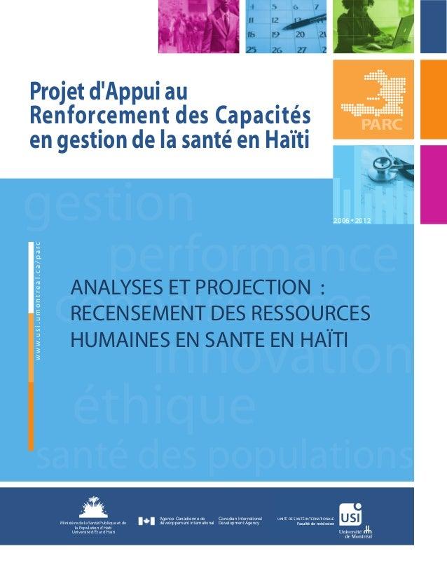 Projet d'Appui au Renforcement des Capacités en gestion de la santé en Haïti  PARC  gestion performance connaissances www....