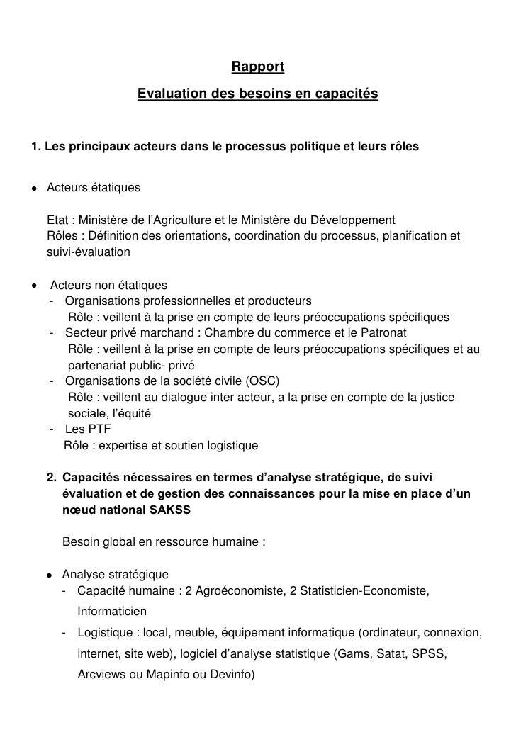 Rapport                   Evaluation des besoins en capacités1. Les principaux acteurs dans le processus politique et leur...