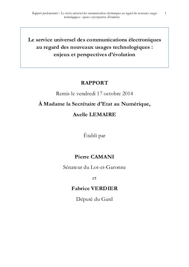 Rapport parlementaire : Le service universel des communications électroniques au regard des nouveaux usages technologiques...