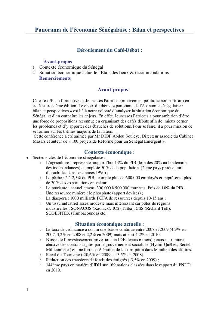 Panorama de l'économie Sénégalaise : Bilan et perspectives                               Déroulement du Café-Débat :      ...
