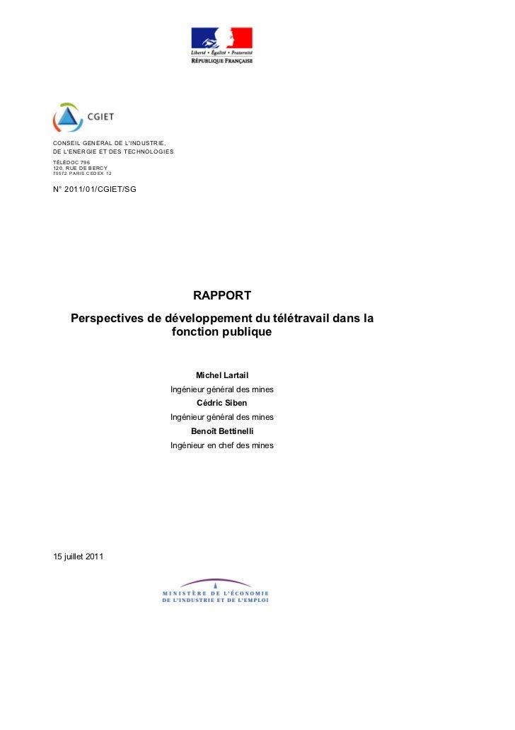 CONSEIL GENERAL DE LINDUSTRIE,DE LENERGIE ET DES TECHNOLOGIESTÉLÉDO C 796120, RU E DE BERC Y75 57 2 PARI S C ED EX 1 2N° 2...