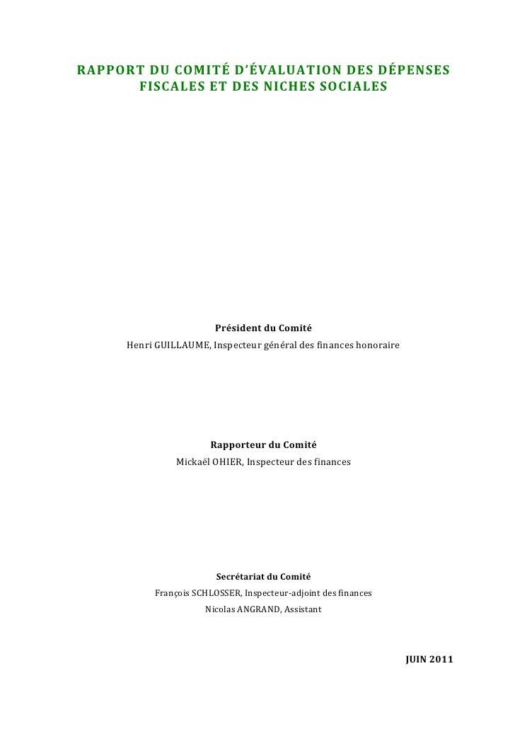RAPPORTDUCOMITÉD'ÉVALUATIONDESDÉPENSES          FISCALESETDESNICHESSOCIALES                                    ...