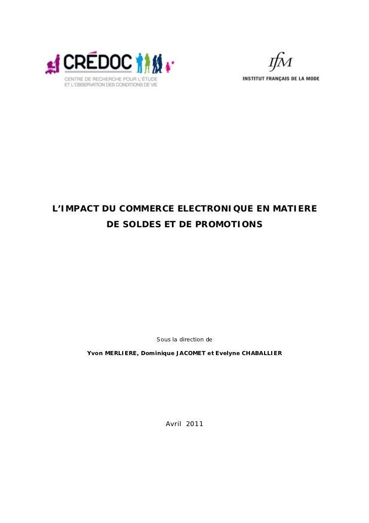 L'IMPACT DU COMMERCE ELECTRONIQUE EN MATIERE          DE SOLDES ET DE PROMOTIONS                        Sous la direction ...