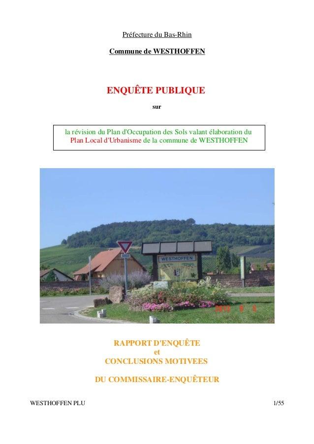 Préfecture du Bas-Rhin Commune de WESTHOFFEN  ENQUÊTE PUBLIQUE sur  la révision du Plan d'Occupation des Sols valant élabo...