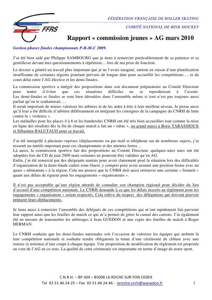 FÉDÉRATION FRANÇAISE DE ROLLER SKATING                                                                      COMITÉ NATIONA...