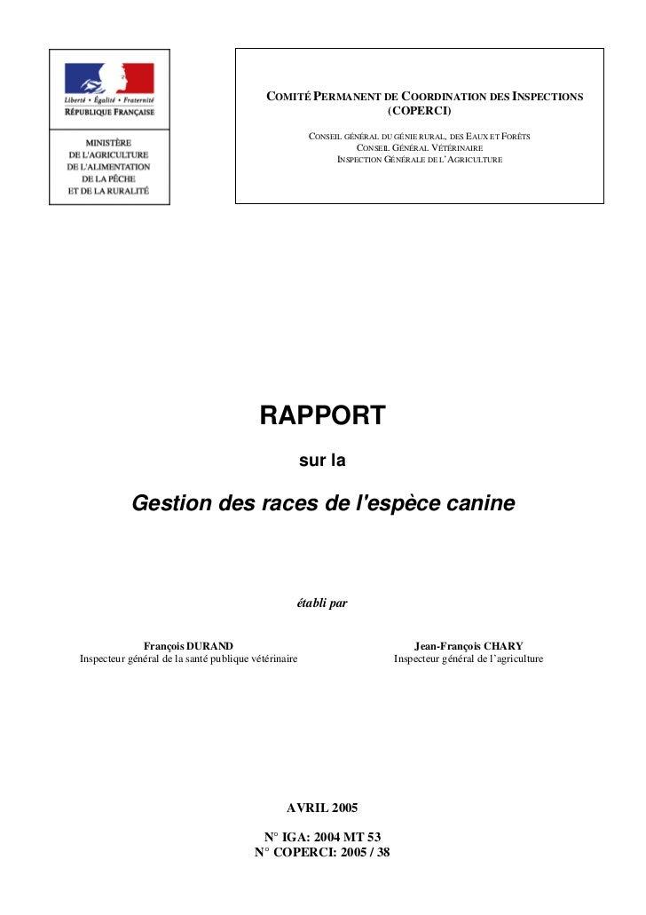 Rapport coperci la gestion des races canines avril 2005