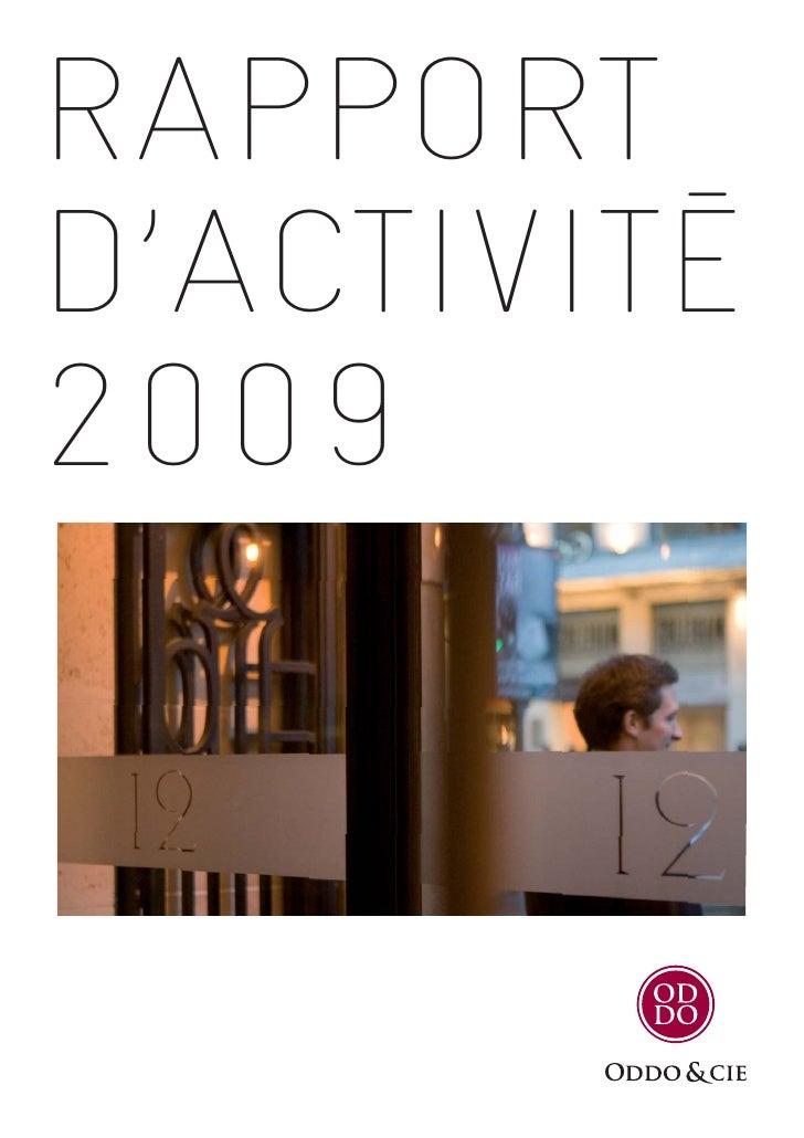 Rapport d'activité 2009 de Oddo & Cie