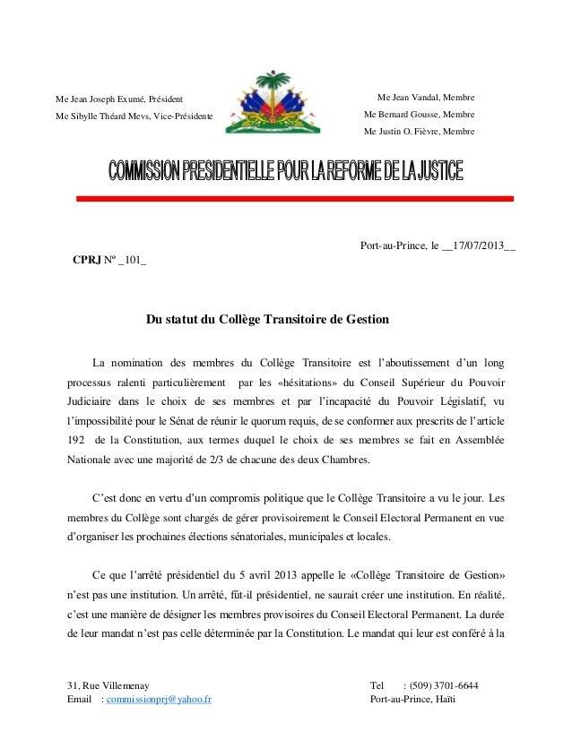 31, Rue Villemenay Tel : (509) 3701-6644 Email : commissionprj@yahoo.fr Port-au-Prince, Haïti Du statut du Collège Transit...
