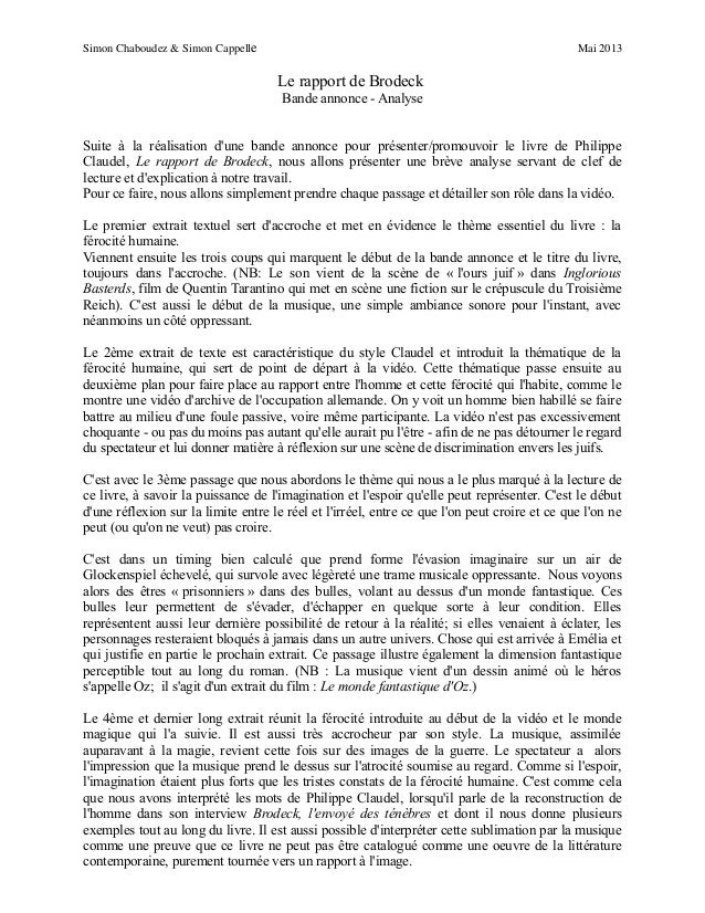 Simon Chaboudez & Simon Cappelle Mai 2013 Le rapport de Brodeck Bande annonce - Analyse Suite à la réalisation d'une bande...