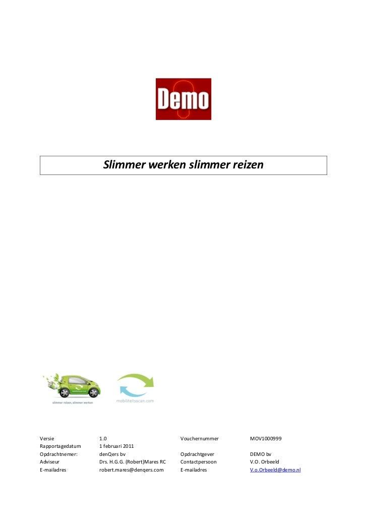 Mobiliteitsscan.com MKB demorapport - Slimmer Werken Slimmer Reizen