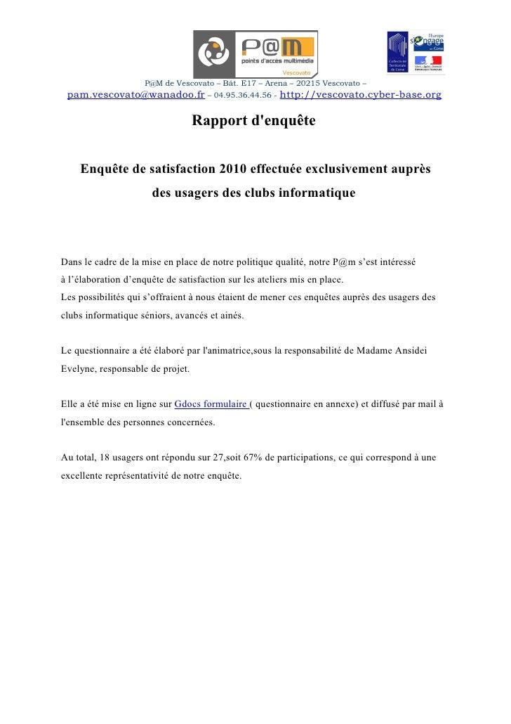 P@M de Vescovato – Bât. E17 – Arena – 20215 Vescovato –  pam.vescovato@wanadoo.fr – 04.95.36.44.56 - http://vescovato.cybe...
