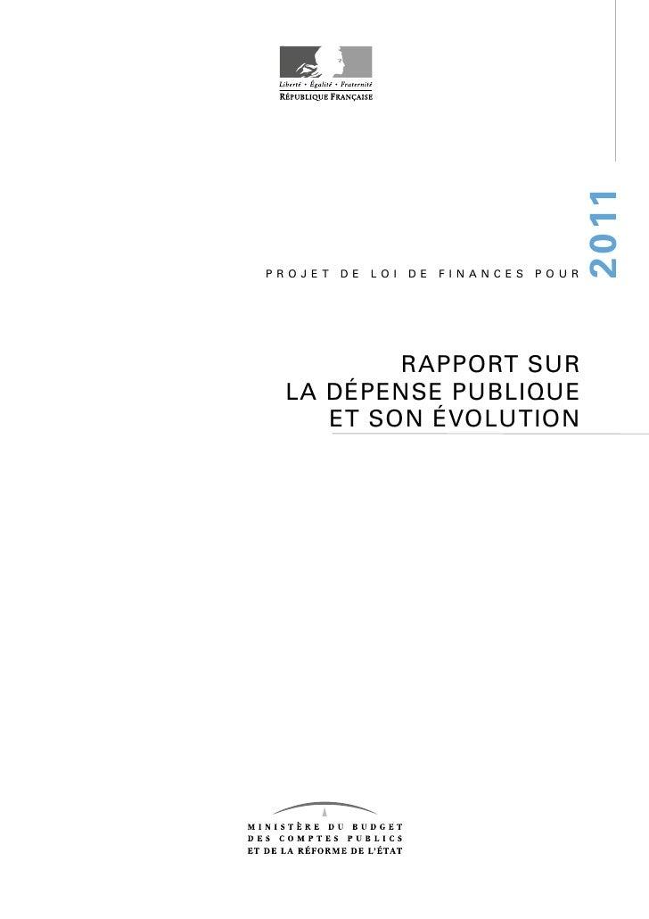 2 0 11 PROJET   DE   LOI   DE   FINANCES   POUR              RAPPORT SUR  LA DÉPENSE PUBLIQUE     ET SON ÉVOLUTION