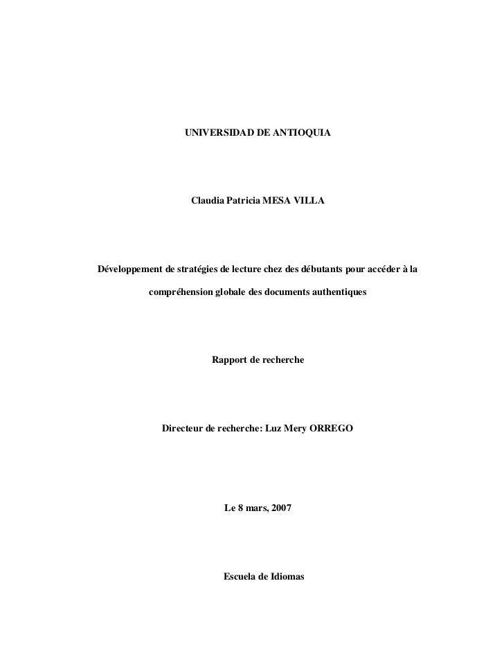 UNIVERSIDAD DE ANTIOQUIA                     Claudia Patricia MESA VILLADéveloppement de stratégies de lecture chez des dé...