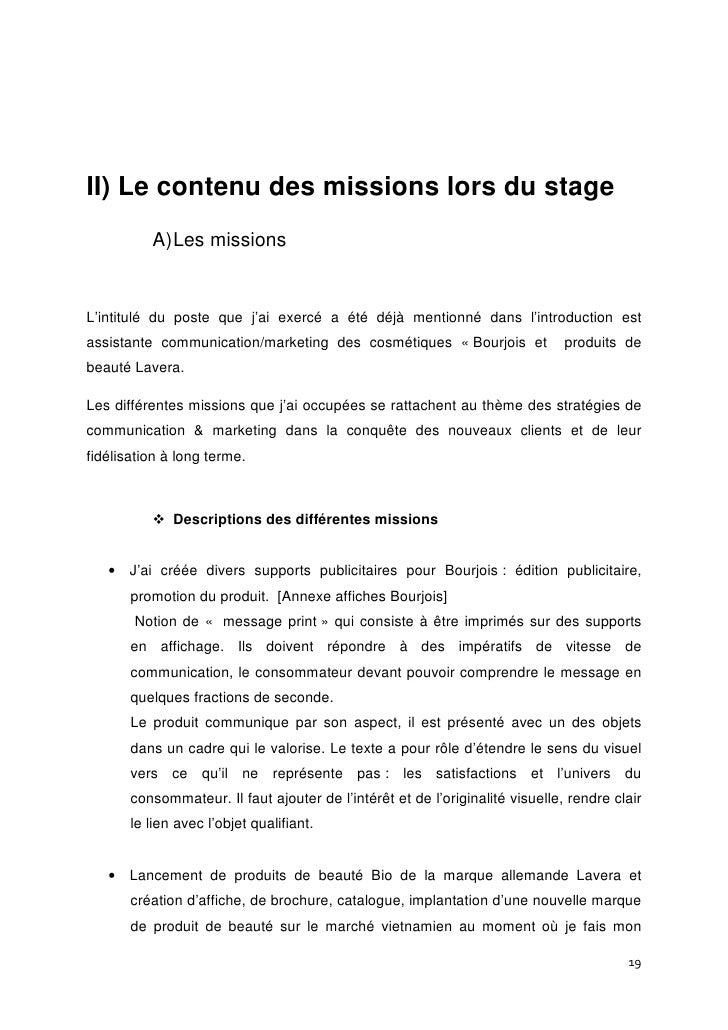 Exemple dintroduction dun rapport de mission for Introduction rapport de stage cuisine