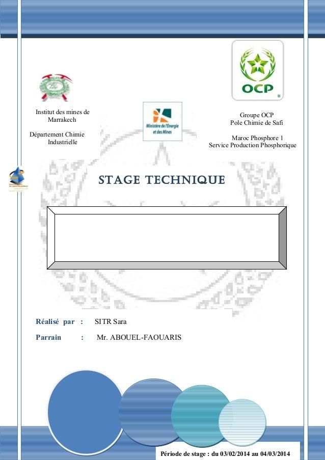 1 Département Chimie Industrielle Institut des mines de Marrakech Département Chimie Industrielle Groupe OCP Pole Chimie d...