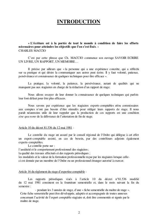 introduction d un rapport de stage pdf