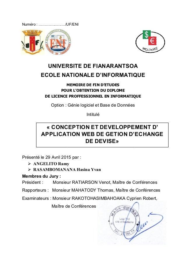 Numéro : …………...……./UF/ENI UNIVERSITE DE FIANARANTSOA ECOLE NATIONALE D'INFORMATIQUE MEMOIRE DE FIN D'ETUDES POUR L'OBTENT...