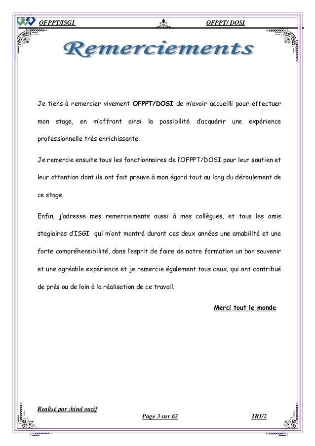 Exemple De Remerciement Pour Rapport De Stage Rapport De Stage | My ...