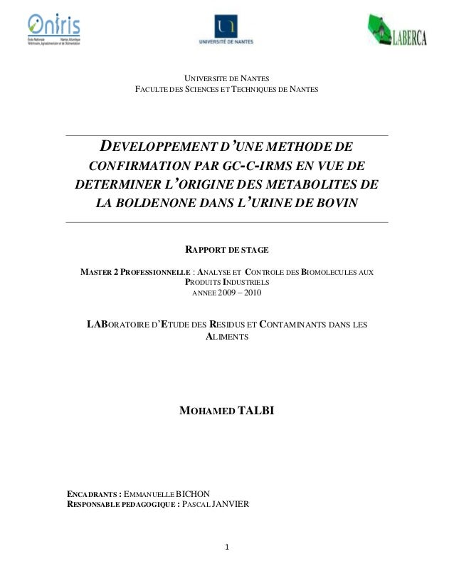 1 UNIVERSITE DE NANTES FACULTE DES SCIENCES ET TECHNIQUES DE NANTES DEVELOPPEMENT D'UNE METHODE DE CONFIRMATION PAR GC-C-I...