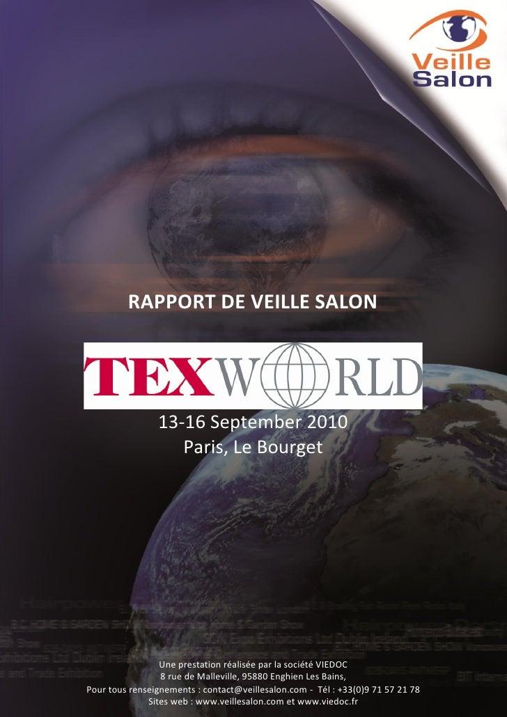 RAPPORT DE VEILLE SALON                             13-16 September 2010                            Paris, Le Bourget     ...