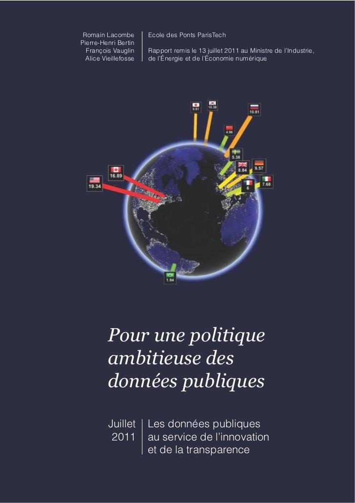 Romain Lacombe        Ecole des Ponts ParisTechPierre-Henri Bertin  François Vauglin     Rapport remis le 13 juillet 2011 ...