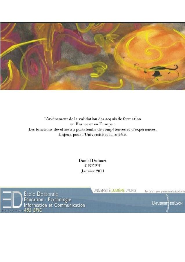 L' avènement de la validation des acquis de formation en France et en Europe