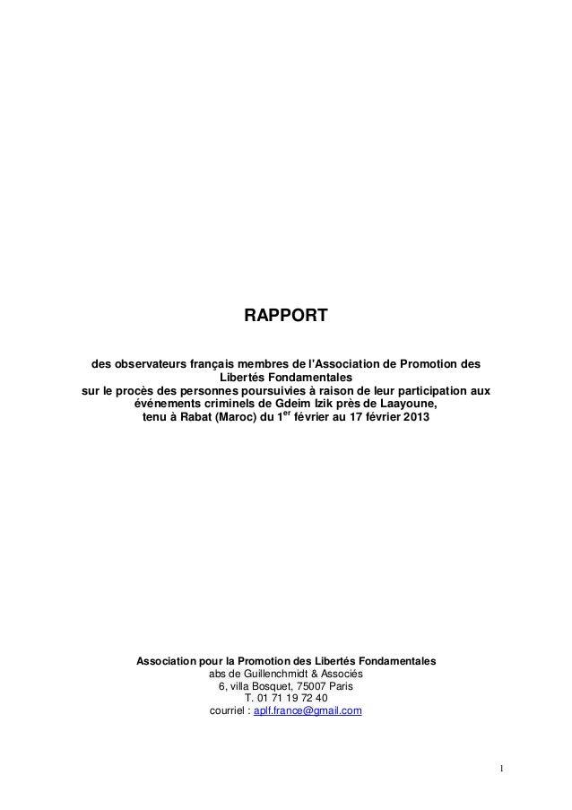 RAPPORT des observateurs français membres de lAssociation de Promotion des                         Libertés Fondamentaless...
