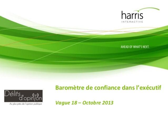 Baromètre de confiance dans l'exécutif Vague 18 – Octobre 2013