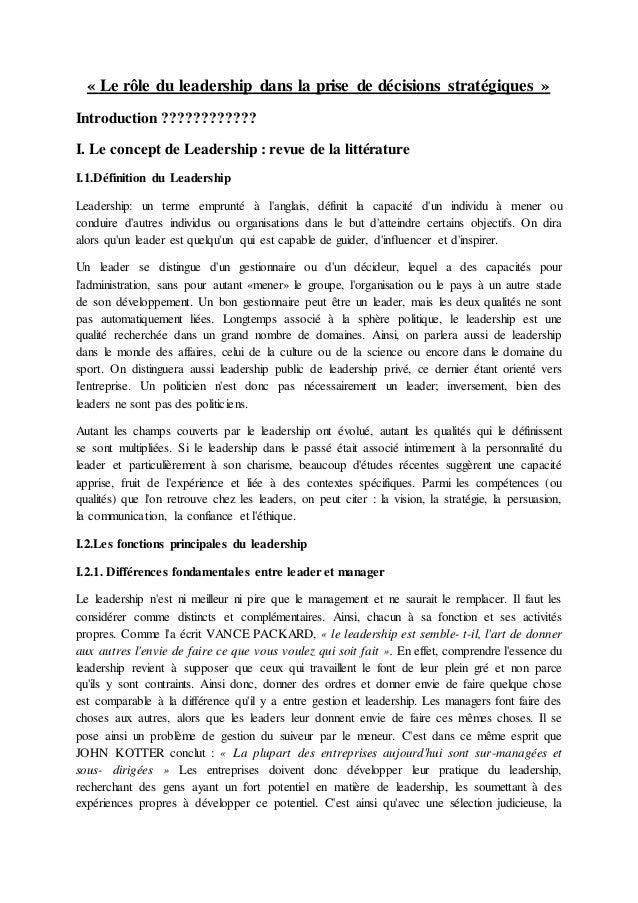 « Le rôle du leadership dans la prise de décisions stratégiques »  Introduction ????????????  I. Le concept de Leadership ...