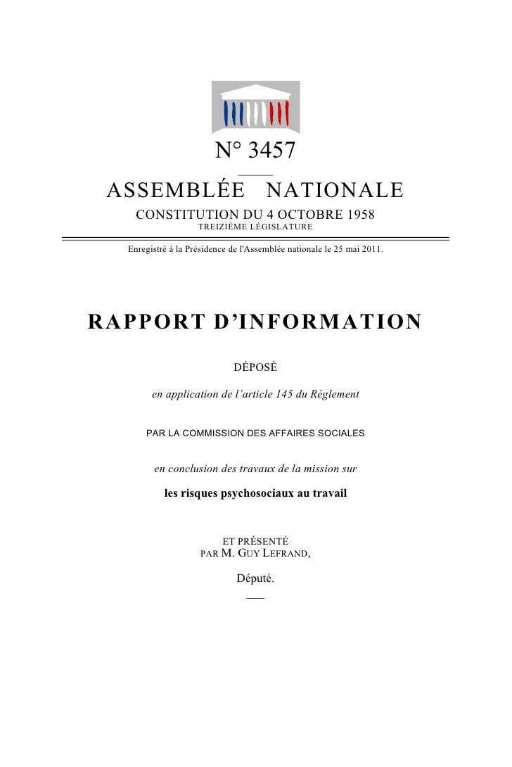 N° 3457                              ______ ASSEMBLÉE NATIONALE    CONSTITUTION DU 4 OCTOBRE 1958                    TREIZ...