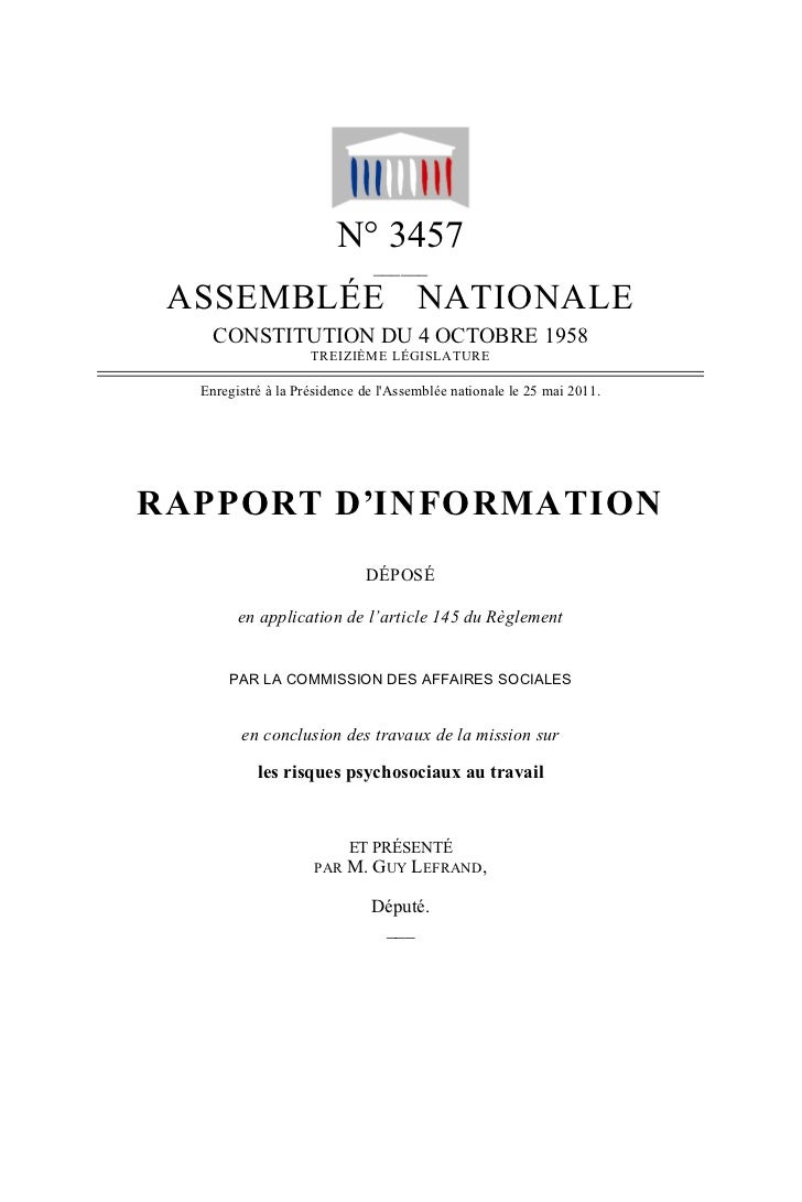 N° 3457                              ______ ASSEMBLÉE NATIONALE    CONSTITUTION DU 4 OCTOBRE 1958                    TREIZ...