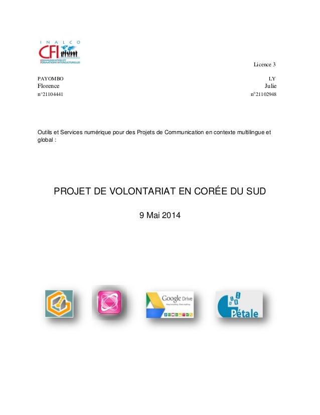 Licence 3 PAYOMBO LY Florence Julie n°21104441 n°21102948 Outils et Services numérique pour des Projets de Communication e...