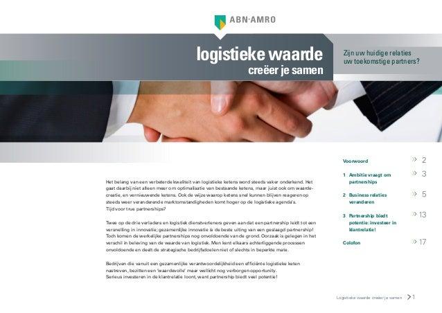 Rapport logistieke waarde creëer je samen - ABN AMRO sector rapport