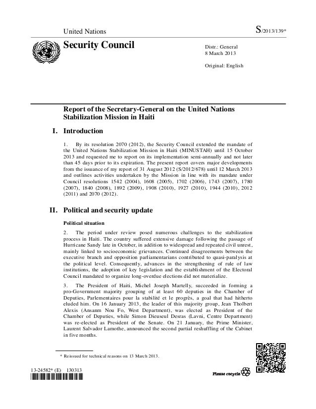 United Nations                                                                          S/2013/139*            Security Co...