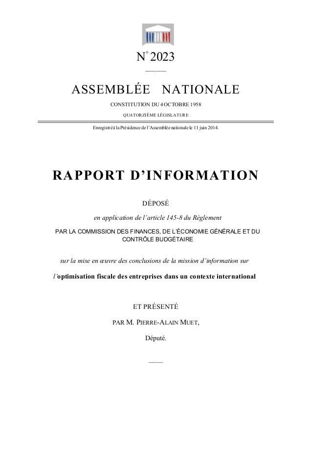 — 1 —  N° 2023  ______  ASSEMBLÉE NATIONALE  CONSTITUTION DU 4 OCTOBRE 1958  QUATORZIÈME LÉGISLATURE  Enregistré à la Prés...
