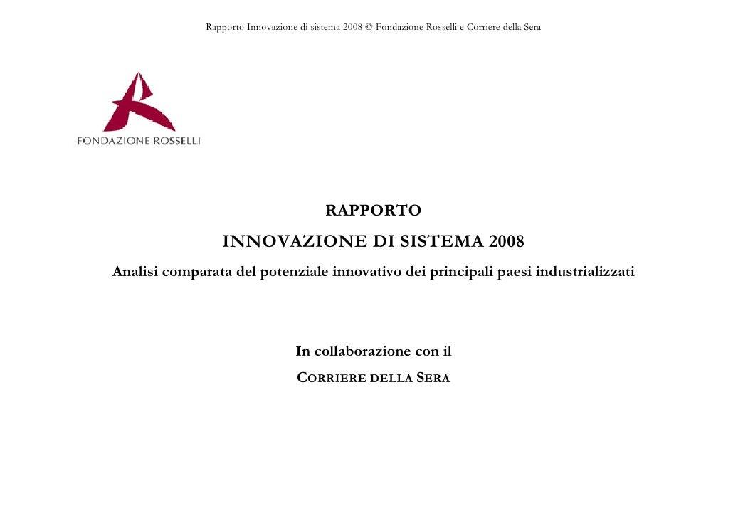 Rapporto Innovazione Sistema 2008