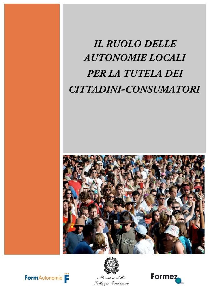 Rapporto Tutela Consumatori Formez Anpci Federconsumatori